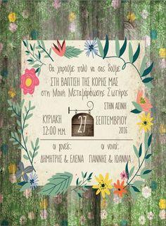 Προσκλητήριο βάπτισης σε φθαρμένο φλοράλ ξύλο Christening, Wreaths, Design, Door Wreaths, Deco Mesh Wreaths, Floral Arrangements, Garlands, Floral Wreath