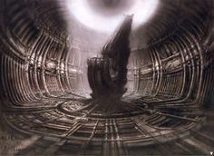 """H.R Giger: """"Some people would say my paintings show a future world and maybe they do, but I paint from reality."""" 