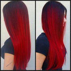 Fierce Red hair color for long straight hair | Auburn Hair color inspo