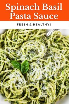 This Spinach Basil Green Pasta Sauce recipe is fresh and flavorful! It's made with ingredients like fresh spinach, basil, garlic, lemon, and Parmesan cheese. This Italian pasta sauce can be tossed with spaghetti or any noodles of choice. It's vegetarian and gluten free. This pasta can be customized by adding chicken, shrimp, mushrooms, or sautéed veggies. The sauce is prepared in a food processor and finished in a skillet. It's great for a weeknight dinner and a great way to use garden basil! Cold Pasta Dishes, Best Pasta Dishes, Pasta Sauce Recipes, Yummy Pasta Recipes, Vegetarian Recipes, Dinner Recipes, Noodle Recipes, Lunch Recipes, Delicious Recipes