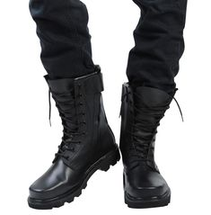 Mens Mototcycle Lace Up Mid Calf Boots Military Desert Combat Boots Cargo Shoes Military Shoes, Military Fashion, Military Combat Boots, Military Style, Military Army, Men's Shoes, Shoe Boots, Men Boots, Ankle Boots