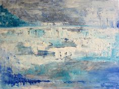 Blue and white~ Art abstrait