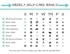Weekly Self-Care Basics Chart (PRINTABLE - INSTANT DOWNLOAD): Self Care • Radical Self Love • Spooni