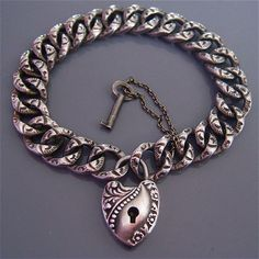 Antique PUFFY HEART Padlock with KEY Curb Link Repousse Victorian Bracelet Sterling Silver