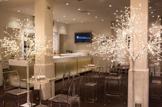 BAFTA 195 London Event Venue - the Foyer Bar with light trees and furniture from @ainsinna for an evening reception