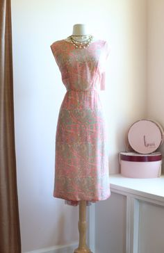 Beautiful Vintage 1960's Silk Chiffon Cocktail Dress ~ Vintage 60s Abstract Watercolor Print Party Dress by xtabayvintage on Etsy