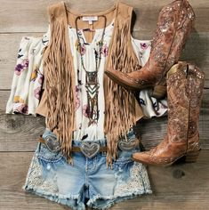 Love the vest, shirt, and boots. I like the lace on the jean shorts, but the shorts Country Style Outfits, Country Girl Style, Country Fashion, Country Concert Outfit Summer, Summer Country Outfits, Country Western Outfits, Country Concerts, Rodeo Outfits, Vest Outfits