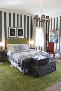 My Notting Hill: DC Design House: Have You Gone Yet? bedroom black white stripe walls striped wallpaper green rug
