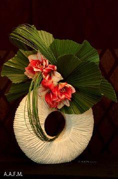 amaryllis et feuilles de palmiers
