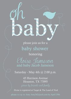 Gray and Blue Chevron Baby Shower Invitation  by PaperEtiquette, $15.00