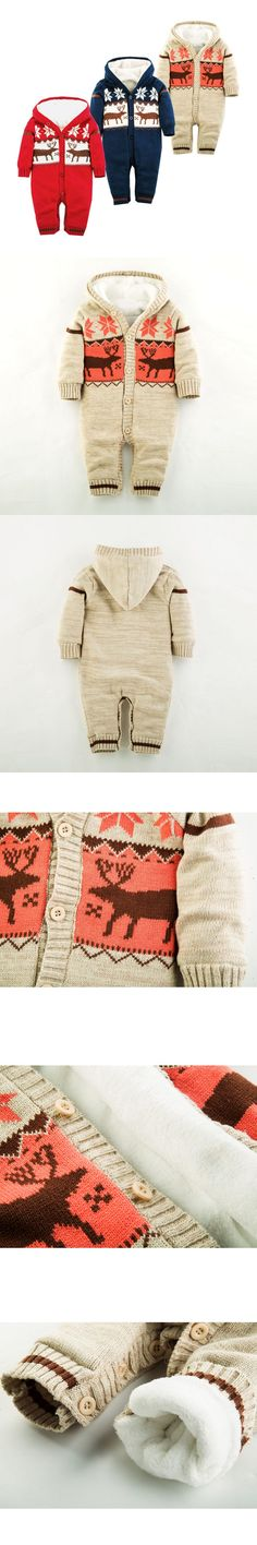 Warm Thick Winter Knitted Sweater Baby Rompers Coral Fleece Newborn Boys Girls Jumpsuits SnowSuit Infant Hooded Outwear
