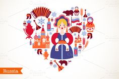 Russia heart + map with icons by Marish on Creative Market