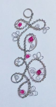 Wire and Crystal Suncatcher, Magenta / Dark Pink Wire Wrapped Crystals