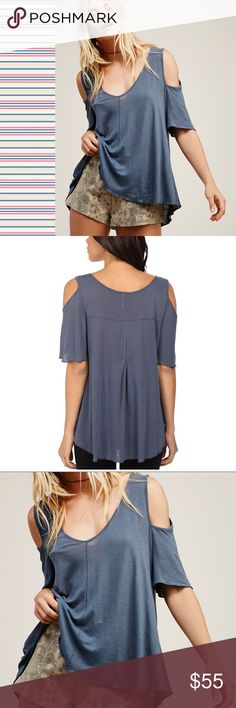 """Free People Cold Shoulder Tee NWT Fluttery short sleeves accent the trendy cold-shoulder cutouts of a featherlight slub-knit top styled with a drapey high/low hem that's easy to tuck in front for a perfectly casual-cool silhouette. 23 1/2"""" front length; 26""""back length  V-neck. Short sleeves. High/low hem. 70% rayon, 30% linen. Dry clean or machine wash cold, tumble dry low. Free People Tops"""