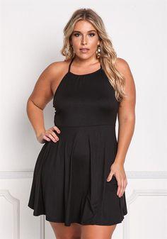 Plus Size Clothing   Plus Size Back Strap Flared Dress   Debshops