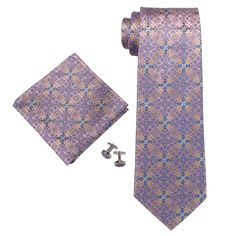 Landisun_Landisun(レンディスン) 花柄 メンズ シルク ネクタイ セット 14M パープル ブルー, 148x9.5cm_通販_Amazon アマゾン