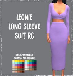Simsworkshop: Leonie Long Sleeve Suit by Sympxls • Sims 4 Downloads