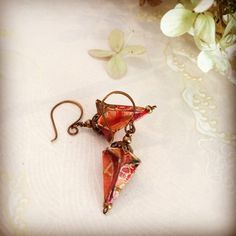 Victorian-Style Origami Drop Earrings  by Sherry Gerstein. Origami paper beads make beautiful and lightweight earrings.