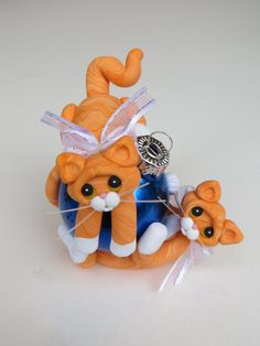 Polymer Clay Christmas Ornament Orange Tabby by HeartOfClayGirl, $32.00