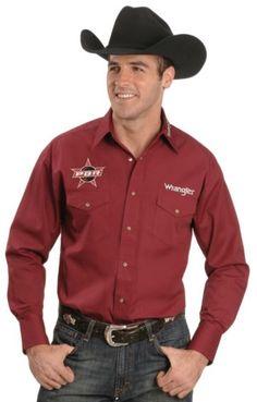 Wrangler Men's Bugundy PBR Logo Shirt