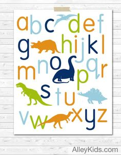 Dinosaur alphabet poster, features dinosaur among the alphabet. Perfect way to decorate your nursery walls. Doubles as a learning tool as the child gets older. Big Boy Bedrooms, Baby Boy Rooms, Baby Boy Nurseries, Kids Bedroom, Toddler Rooms, Bedroom Ideas, Childrens Rooms, Dinosaur Alphabet, Dinosaur Posters