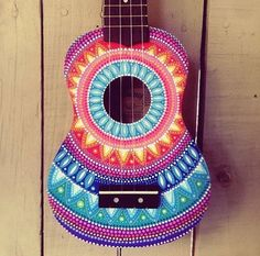 Hand painted dottilism mandala ukulele by SaltyHippieArt on Etsy
