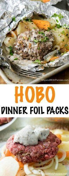 Hobo Dinner Foil Packets (Hamburger & Potato) - Spend With P.- Hobo Dinner Foil Packets (Hamburger & Potato) – Spend With Pennies - Cheap Easy Meals, Cheap Dinners, Quick Meals, Easy Cheap Dinner Recipes, Cheap Recipes, Cheap Food, Foil Packet Dinners, Foil Pack Meals, Tin Foil Dinners