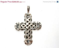 Sale Open Work Sterling Silver Cross by TheJewelryLadysStore