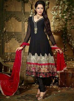 Black Red Embroidery Work Georgette Long Anarkali Designer Suit http://www.angelnx.com/Salwar-Kameez/Anarkali-Suits