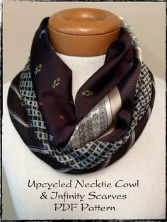 PDF Sewing Pattern for Upcycled/Recycled/Repurposed Necktie Cowl (Bonus Infinity) Scarf Instant Download