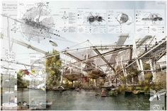 The Natural Systems 2014 winners prize: 'Re-Generator' by Gabriel Munoz Moreno Architecture Presentation Board, Presentation Layout, Architecture Board, Architecture Graphics, Architecture Drawings, Architecture Portfolio, Concept Architecture, Architecture Details, Presentation Boards