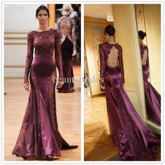 Zuhair Murad Evening Gown  Lace Backless Mermaid Wine Red Celebrity Dress