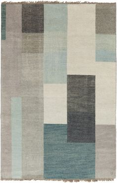 Cypress Collection 100% Wool Area Rug in Dove Grey, Teal, and Light Grey design by Surya