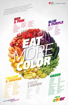 The best way to get all of the vitamins, minerals and nutrients you need is to eat a variety of colorful fruits and vegetables. Add color to your plate each day with the five main color groups.
