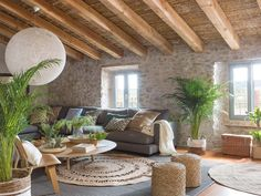 Small Living Rooms, Living Room Decor, Living Spaces, Hacienda Homes, Stone Houses, Interior Design Kitchen, Style At Home, Sweet Home, House Design