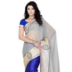 Light Grey Faux #Chiffon Shimmer and Faux Satin #Saree with Blouse