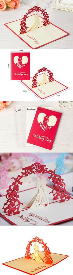 Omall (TM) 10x15cm 3D Pop-up Greeting Card By Chinese Paper-Cut Art Invitation card for Wedding Anniversary Party