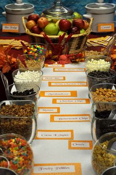 Candy Apple Bar. I like this idea of the guests making their own candy apples to take home. Great for a fall party!