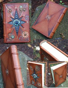 This is a Steam-Punk journal with a center inlay . Hand bound in italian goats leather. Natural Parchment for the text block and hand marbled paper for the end sheets. Hand sewn headbands and simpl. Handmade Journals, Handmade Books, Grimoire Book, Beautiful Book Covers, Cool Books, Magic Book, Book Binding, Leather Journal, Book Journal