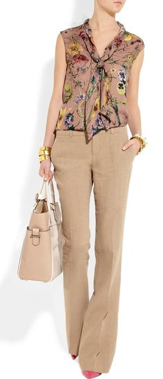 Gucci floral-print silk-georgette top and hazel linen flared pants Office Outfits, Casual Outfits, Casual Jeans, Looks Plus Size, Lightweight Cardigan, Work Wardrobe, Business Attire, Work Attire, Flare Pants