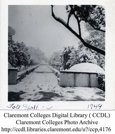 Yup, it does snow in Claremont, Ca - Scripps College...Toll Hall...1949