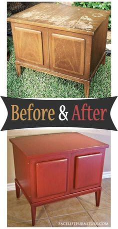 Weary and worn end table given a new life in Chili Pepper Red - Before and After from Facelift Furniture Refurbished Furniture, Repurposed Furniture, Painted Furniture, Redoing Furniture, Upcycled Furniture Before And After, Cane Furniture, Furniture Nyc, Chalk Paint Projects, Paint Ideas