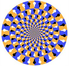 This illusion appears to be moving when you glance away and look at it out of the corner of your eye. This is becasue the alternating colors and shapes play tricks on your eyes. WARNING: May cause dizziness or migrane headaches for some people.