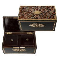 Античный французский Наполеон III Буль 2-Ну чай Caddy, викторианской эпохи из старинных вещей часто встречающийся сокровище на Руби Лейн