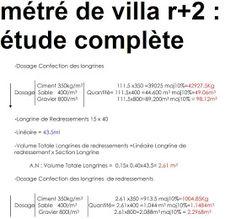 métré de villa r+2 étude complète