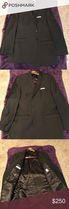 Men's Tailored Calvin Klein Slim Fit Suit Calvin Klein Slim Fit Suit Jacket and Pants Black/Black Tailored 46L Jacket Two Button 38/32 1/2 Pants Flat-Front no cuff Worn twice then lost 60 lbs, can't tailor it small enough and don't wanna ruin a good suit! Calvin Klein Suits & Blazers Suits