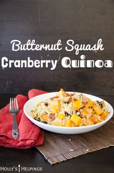 Healthy, yet hearty butternut squash cranberry quinoa . Veggie Recipes, Vegetarian Recipes, Cooking Recipes, Healthy Recipes, Dinner Dishes, Main Dishes, Side Dishes, Thanksgiving Recipes, Fall Recipes