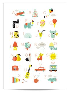 Kid's poster & print ABC by Zu Abc Poster, Kids Poster, Poster Prints, Graphic Prints, Childrens Room Decor, Kids Decor, Decor Ideas, Zine, 3d Cuts