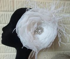 White Organza and Ostrich Feather Floral Wedding by Weddingzilla, $55.00