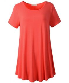 729fe6f7345 Women Short Sleeves Flare Tunic Tops For Leggings Flowy Shirt (S-  Watermelon) - CL17Z726669